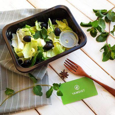 Зеленый салат с малинами detox